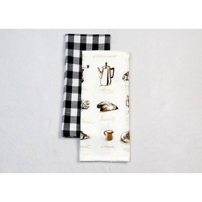 2pk Cotton Printed Kitchen Towels Brown - Threshold™