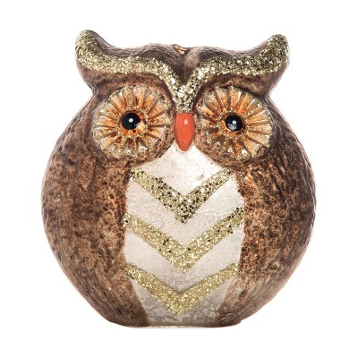 Transpac Glass 6 in. Brown Harvest Light Up Owl