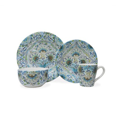 16pc Porcelain Aisha Dinnerware Set Blue - 222 Fifth