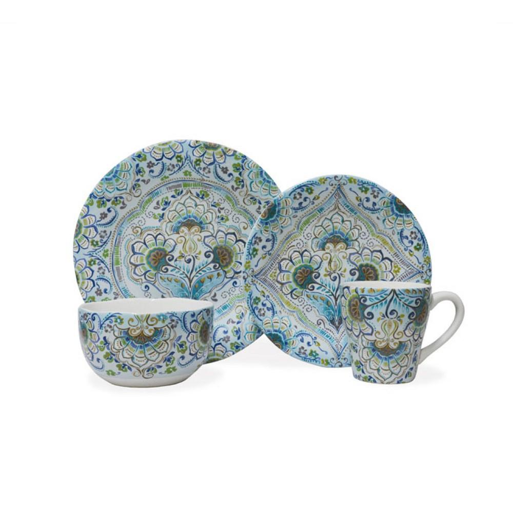 Image of 16pc Porcelain Aisha Dinnerware Set Blue - 222 Fifth, Multi-Colored