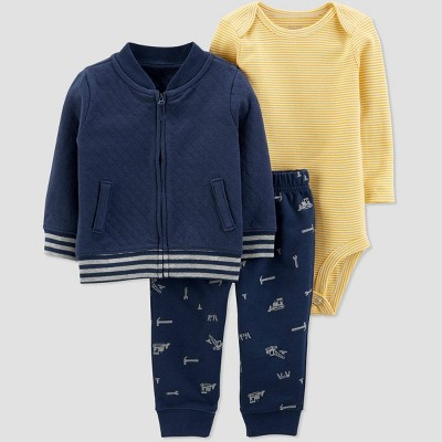 Baby Boys' Quilted Cardigan Top & Bottom Set - Just One You® made by carter's Navy/Gold Newborn