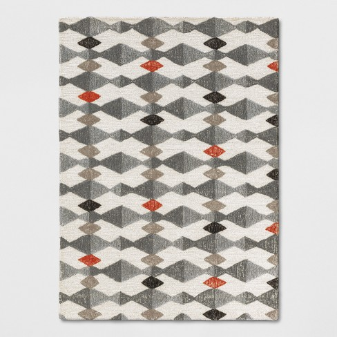 Rust Blue Gray Triangles Tufted Area Rug Project 62