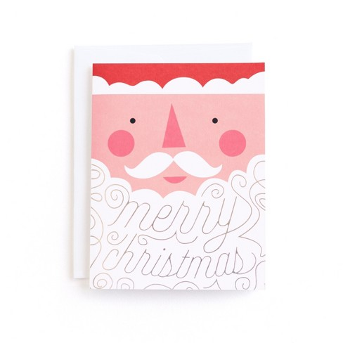 8ct minted merry christmas jolly new year santa beard holiday boxed cards