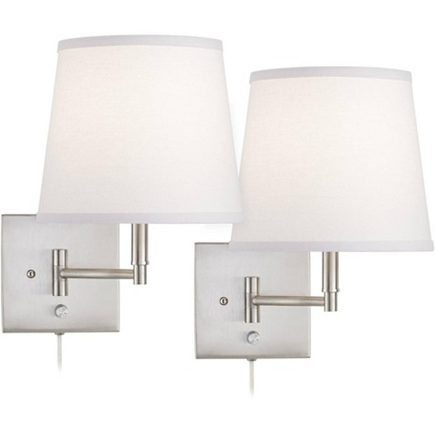 360 Lighting Modern Swing Arm Wall Lamps Set of 2 Brushed Nickel Plug-In Light Fixture White Empire Shade for Bedroom Living Room - image 1 of 4