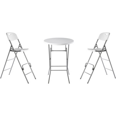 Grdenised Indoor & Outdoor 3 Piece Foldable Bistro Patio Plastic Dining Set, Round Table and Two Chairs
