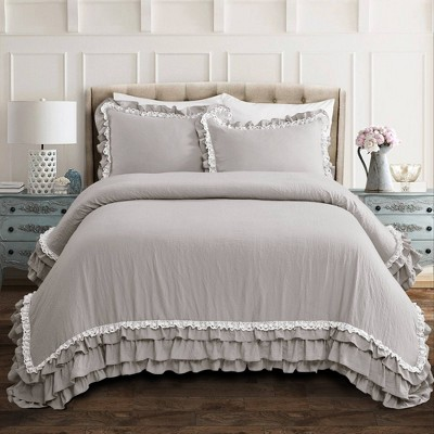 Full/Queen 3pc Ella Shabby Chic Comforter & Sham Set Light Gray - Lush Décor