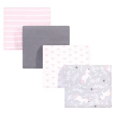 Hudson Baby Unisex Baby Cotton Flannel Receiving Blanket - Whimsical Unicorn One Size
