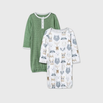 Baby 2pk Little Cub One Piece Pajama - Cloud Island™ Olive Green/White Newborn