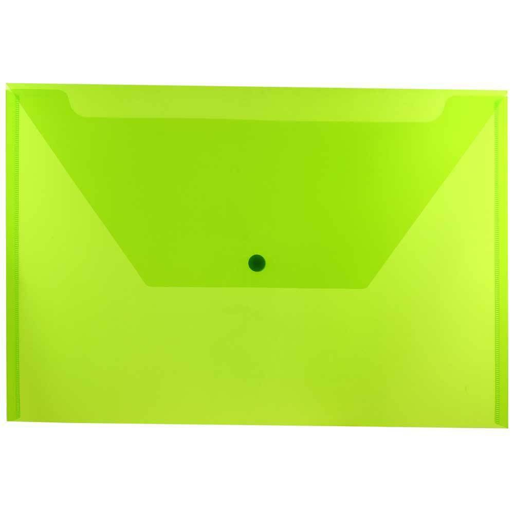 Jam Paper 9 3/4'' x 14 1/2'' 12pk Plastic Envelopes with Snap Closure, Legal Booklet - Lime Green
