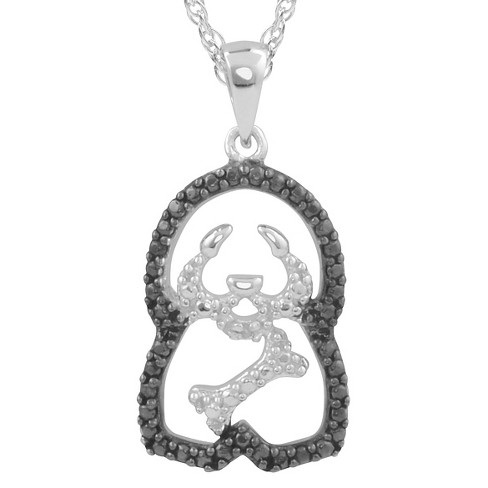 1/10 CT. T.W. Round-Cut Diamond Pave-Set Polished Dog Necklace in Sterling Silver - Black - image 1 of 2