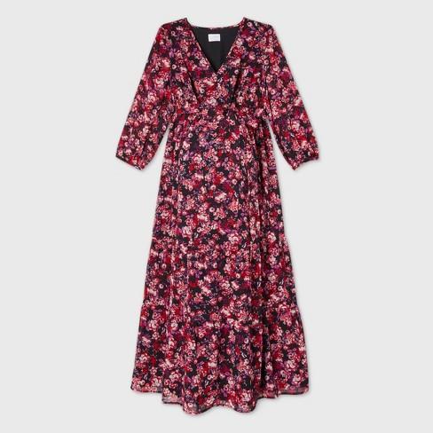 3/4 Sleeve Chiffon Tiered Woven Maternity Dress - Isabel Maternity by Ingrid & Isabel™ Burgundy - image 1 of 2