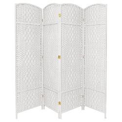6 ft. Tall Diamond Weave Fiber Room Divider 4 Panels - Oriental Furniture