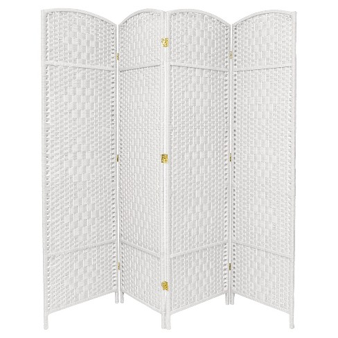 6 Ft Tall Diamond Weave Fiber Room Divider 4 Panels Oriental