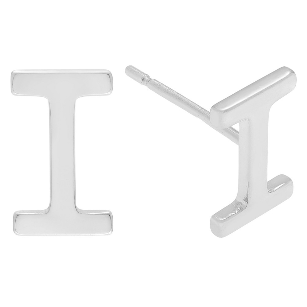 Women's Journee Collection Initial Stud Earrings in Sterling Silver - Silver, I, Silver Letter - I