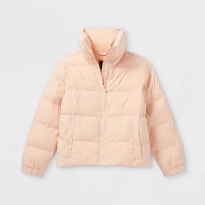 Girls' High Neck Cropped Puffer Jacket - art class™