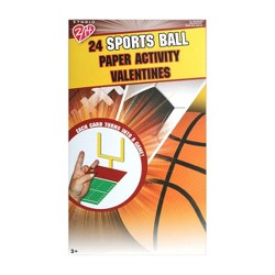 24ct Folded Sport Balls Paper Activity Valentines