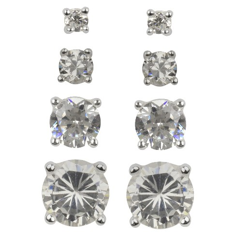 Sterling Silver Cubic Zirconia Quad Multi Size Stud Earring Set - Clear - image 1 of 1