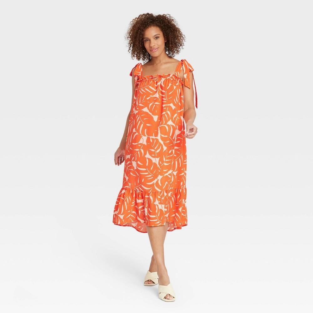 70s Dresses – Disco Dress, Hippie Dress, Wrap Dress Womens Sleeveless Dress - Who What Wear Orange Printed XXL $37.99 AT vintagedancer.com