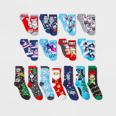 Women's Holiday Cats 15 Days of Socks Advent Calendar - Assorted Colors 4-10