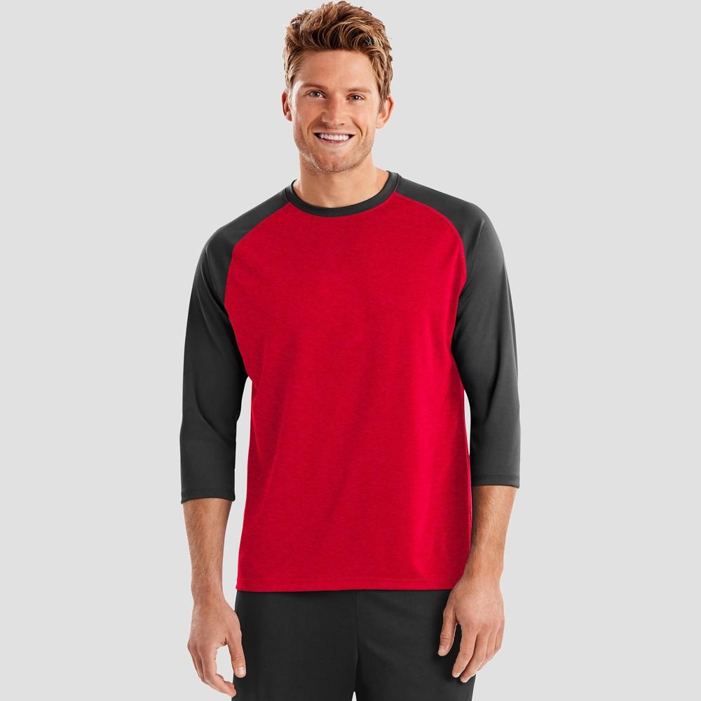 Hanes Sport Mens Performance Baseball T-Shirt - Red 2XL Compare