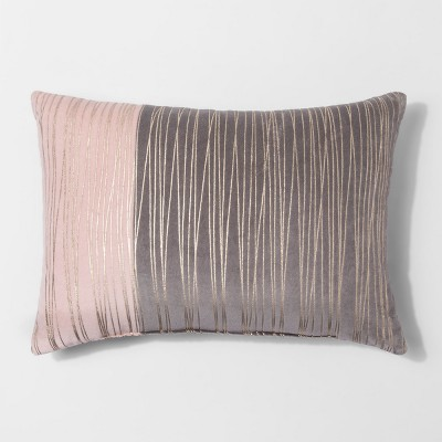 Pink & Gold Stripe Metallic Lumbar Throw Pillow - Project 62™