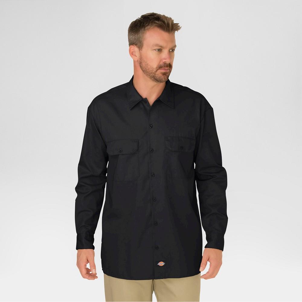 Dickies Men's Original Fit Twill Long Sleeve Shirt-Black M, Black