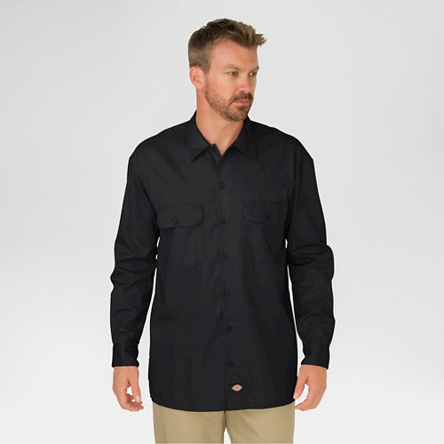 Dickies Men's Original Fit Twill Long Sleeve Shirt-Black M, Size: Medium