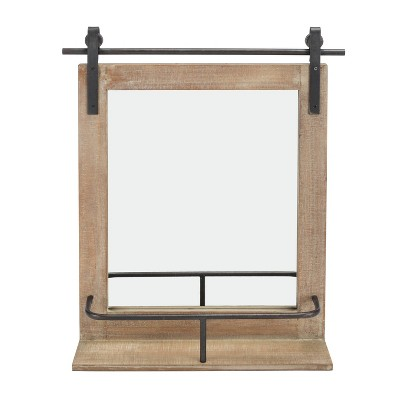 Wall Mount Barn Mirror with Wood Shelf and Iron Hardware - Danya B.
