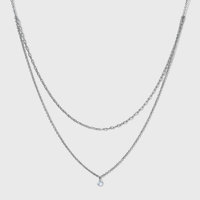 Silver Plated Paperlink Chain and Pierced Cubic Zirconia Necklace Set - A New Day™ Silver