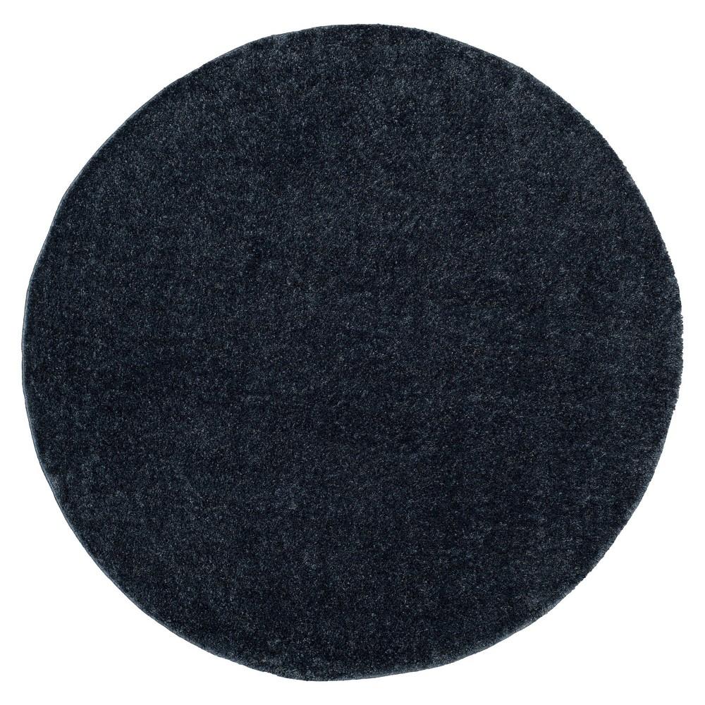 Blue Solid Loomed Round Area Rug 6 39 7 34 Round Safavieh