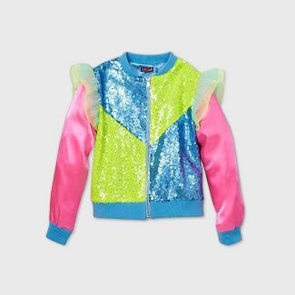 Girls' JoJo Siwa Colorblock Sequin Bomber Jacket - XS