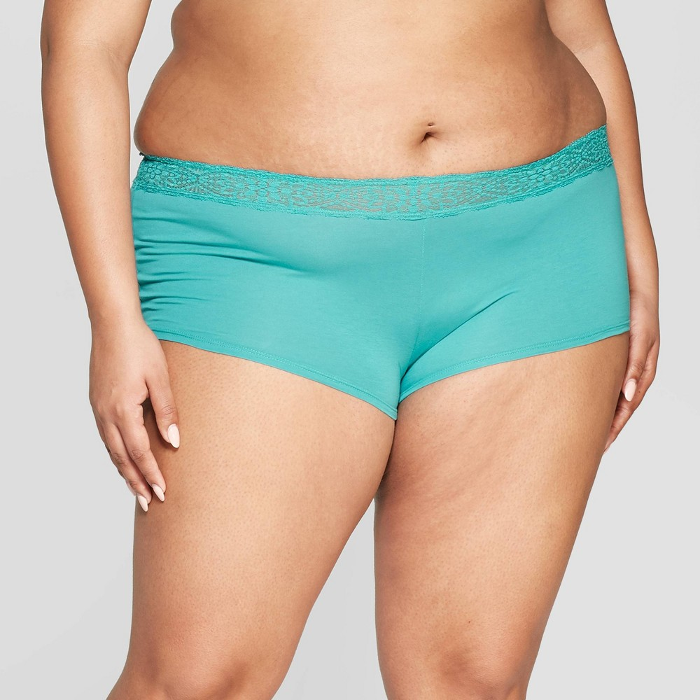 Women's Plus Size Cotton Boyshort with Lace Waistband - Auden Dapper Turquoise 4X