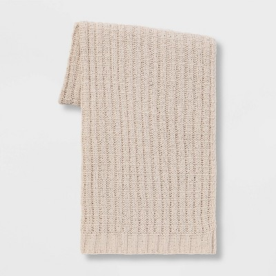 Solid Chenille Throw Blanket Neutral - Threshold™