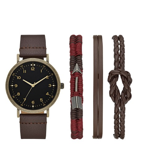 Men's Easy Read Strap Watch Set - Goodfellow & Co™ Brown - image 1 of 1