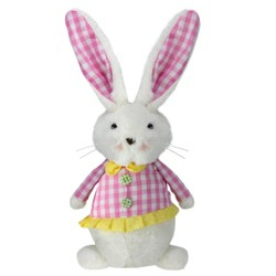 "Northlight 13.5"" Plush Checkered Spring Coat Bunny Rabbit Easter Decoration - White/Pink"