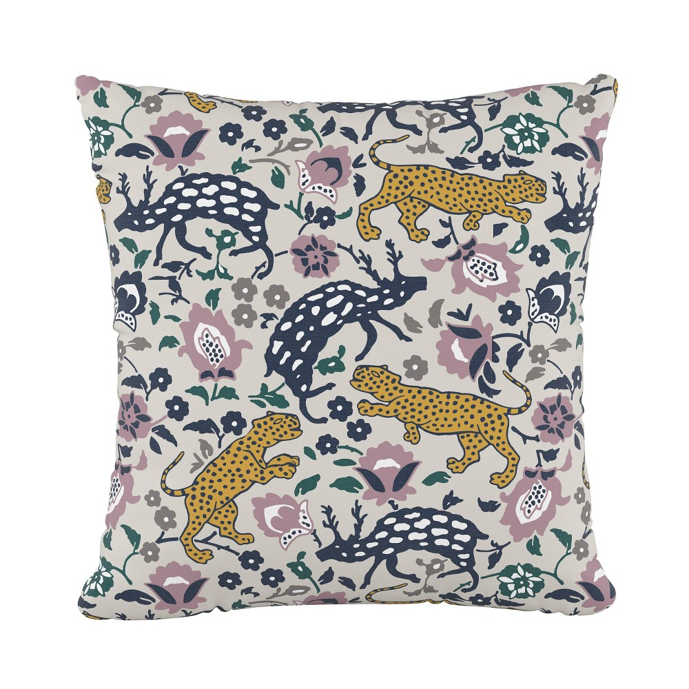 """Image of """"18""""""""x18"""""""" Leopard Square Throw Pillow Mustard Plum - Cloth & Company"""""""