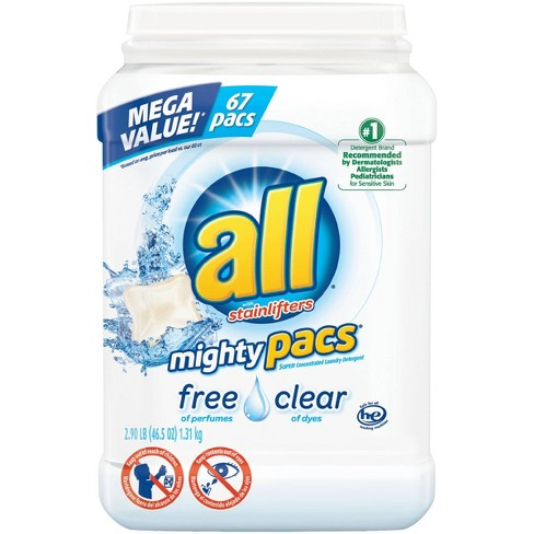 all® Mighty Pacs Free Clear with Stain Lifters Unit Dose HE Laundry Detergent 67ct- 67 loads - image 1 of 5