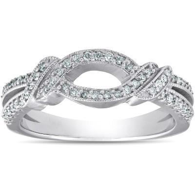 Pompeii3 VS .40Ct Diamond Wedding Ring 14k White Gold Infinity Band Size 7.5 - Size 7.5