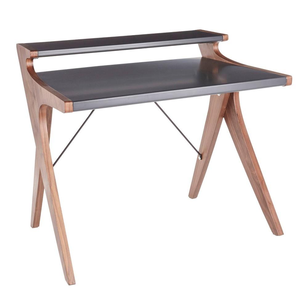 Archer Contemporary Desk Walnut/Gray (Brown/Gray) - Lumisource