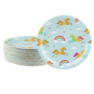 Blue Panda 80-Count Paper Disposable Plates, Rainbow Unicorn Party Supplies, Kids Birthdays, 9 x 9 inches
