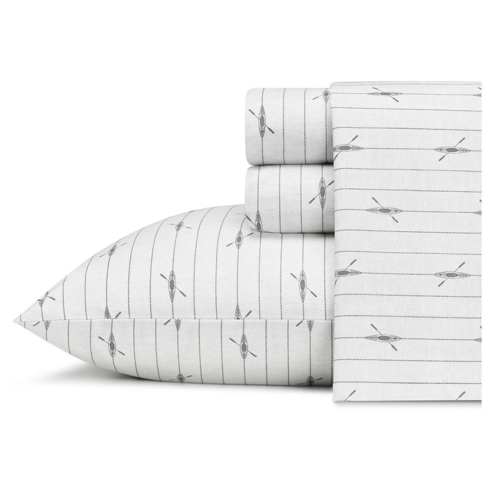 Image of Queen Printed Pattern Percale Cotton Sheet Set Gray Kayak - Eddie Bauer