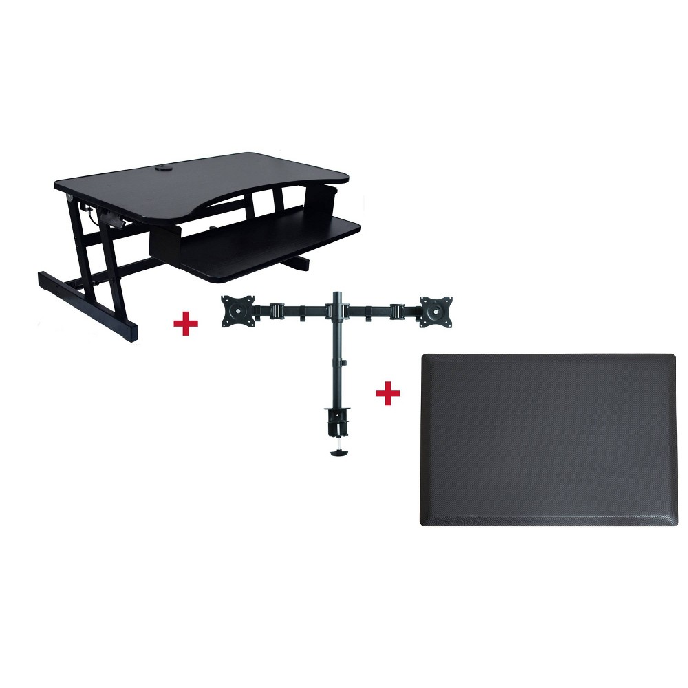 Deluxe Height Adjustable Computer Riser with Mat & Monitor Mount, Black