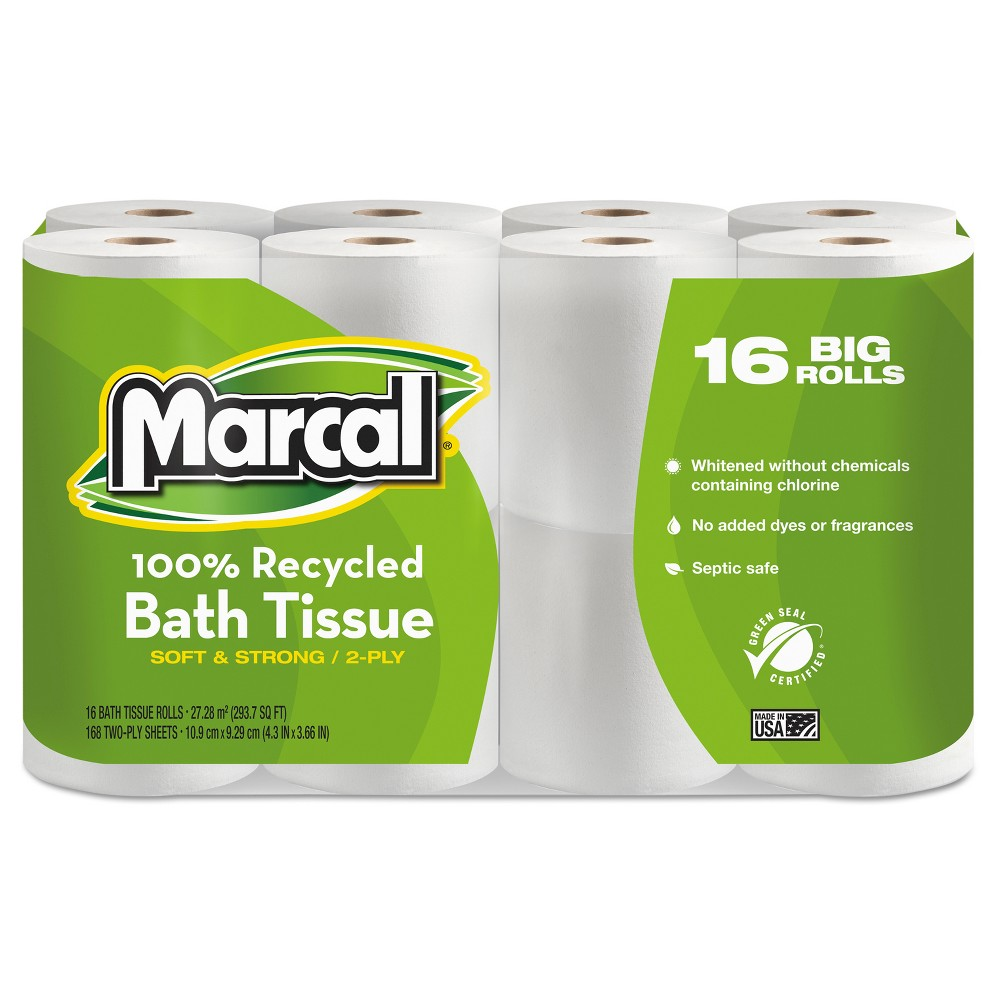 Marcal 100% Recycled Toilet Paper - 16 Big Rolls