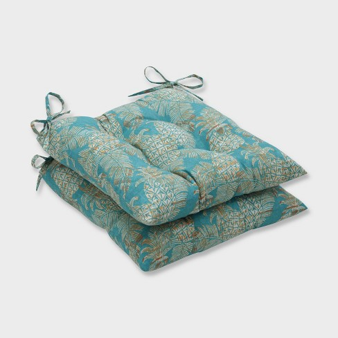 2pk Carate Batik Lagoon Wrought Iron Outdoor Seat Cushions Blue - Pillow Perfect - image 1 of 1