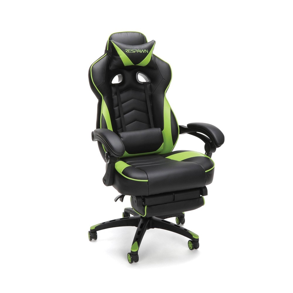 Image of 110 Racing Style Reclining Ergonomic Leather Gaming Chair with Footrest Green - RESPAWN
