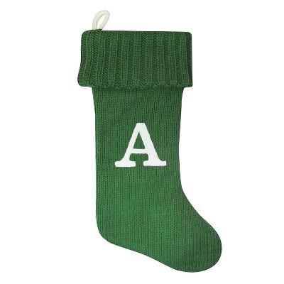 Knit Monogram Christmas Stocking Green A - Wondershop™