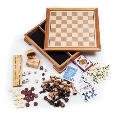 Toy Time 7-in-1 Deluxe Wood Board Game Set - Chess, Checkers, Backgammon, Dominoes, Cribbage, Poker Dice, and Standard 52-Card Deck