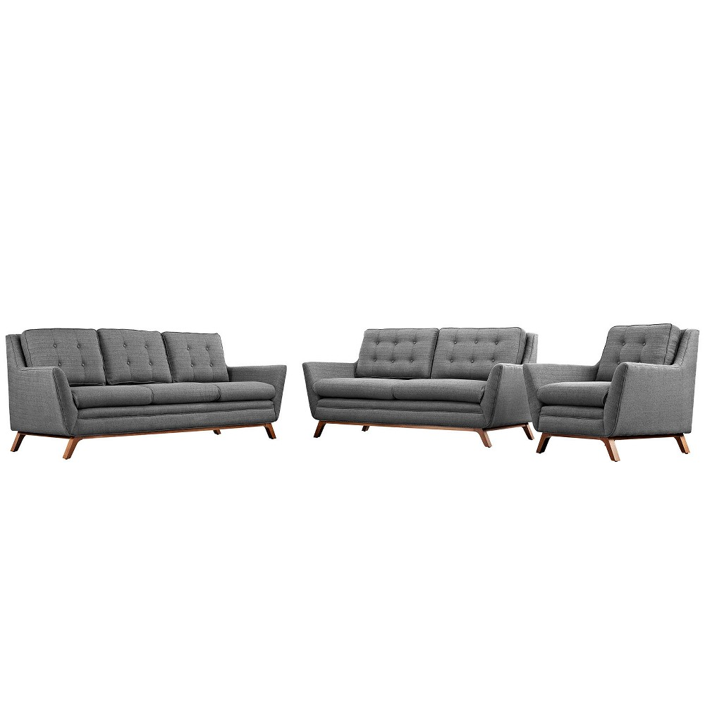 Beguile Living Room Set Upholstered Fabric Set of 3 Gray - Modway