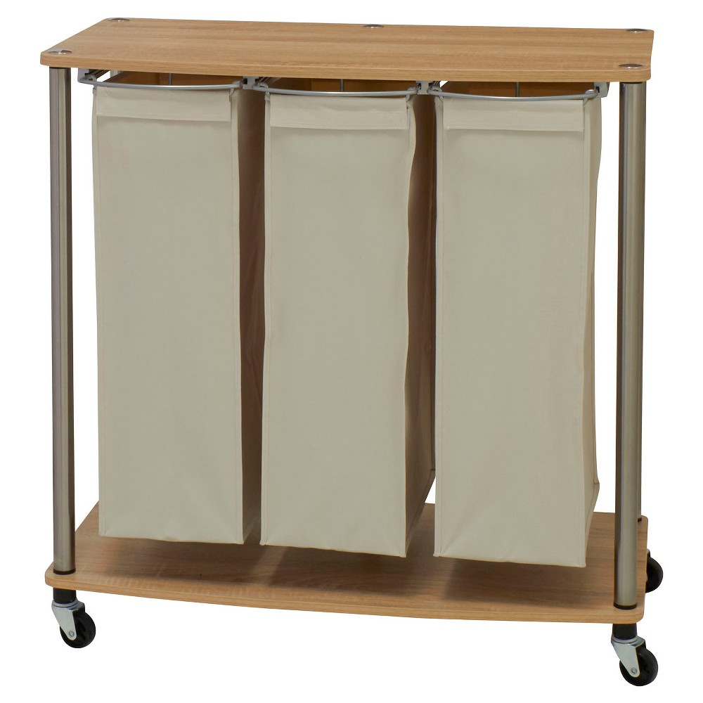 Best Review Household Essentials Rolling 3 Bag Laundry Sorter Cart NaturalLight Ash Light Off White
