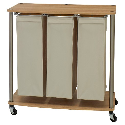 Household Essentials 3 Bag Rolling Laundry Sorter Cart Natural/Light Ash - image 1 of 3